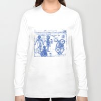 blueprint Long Sleeve T-shirts featuring MY LITTLE SISTER BLUEPRINT by Sofia Youshi