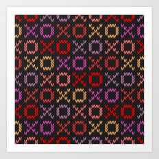 XOXO pattern - dark Art Print
