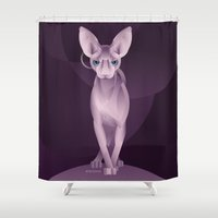 sphynx Shower Curtains featuring Sphynx by Dezignjk (Justin Kohout)