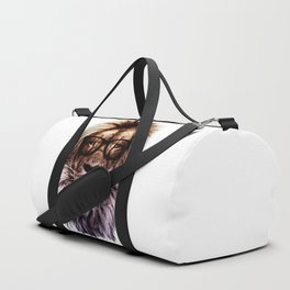 Lion Hipster Art White Duffle Bag