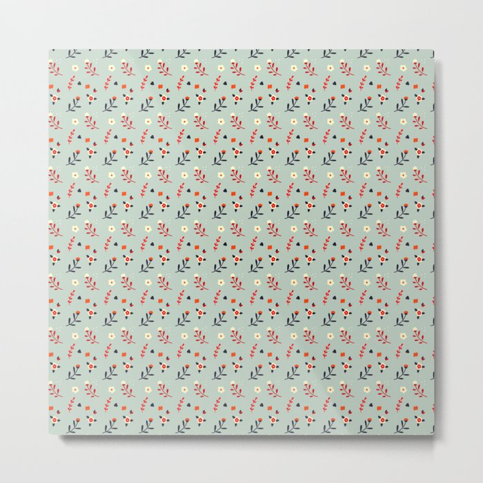 Vintage flower pattern Metal Print