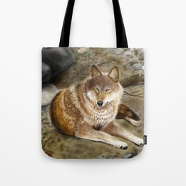 Wolf by the Riverbed Tote Bag