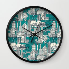 Seattle indigo teal Wall Clock