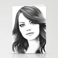 emma stone Stationery Cards featuring Emma Stone minimalist digital portrait by Thubakabra