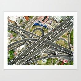 Aerial view of highway Art Print
