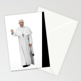 High Resolution Standing Waving Pope Francis Stationery Cards
