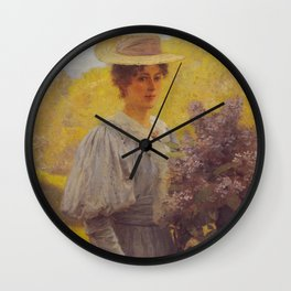 Hans Gude Painting -  Ung Dame Med Syriner 1897  | Reproduction | Norwegian Art Wall Clock