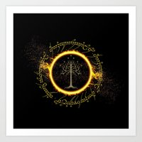 lord of the ring Art Prints featuring Lord Of The Ring Circle by Electra