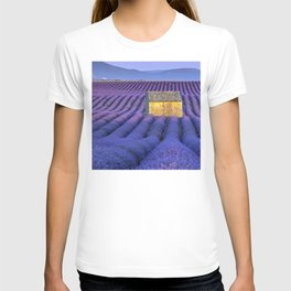 Lavender Fields In Luxurious Bloom With Caregiver's Cottage T-shirt