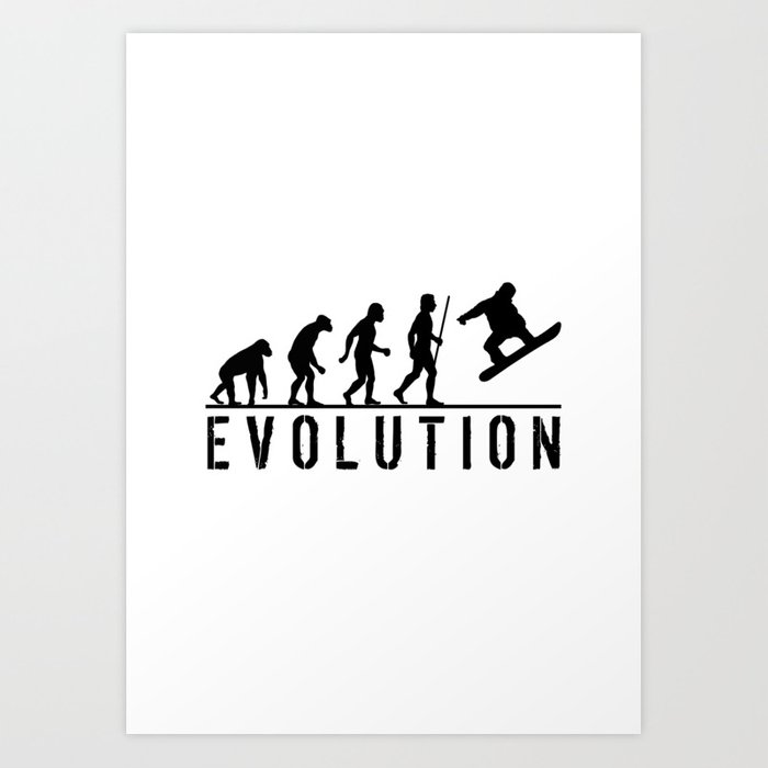 The Evolution Of Man And Snowboarding Kunstdrucke