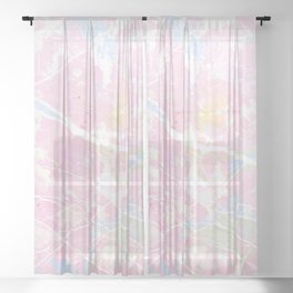 Pastel Candy Pollock marble Sheer Curtain