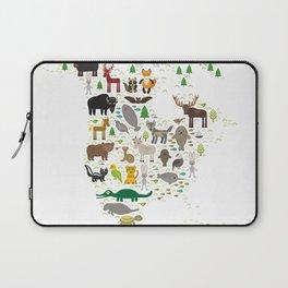 Map of North America with Animals bison bat manatee fox elk horse wolf partridge seal Polar bear Laptop Sleeve