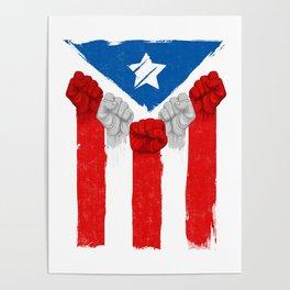 Raised Fists For Puerto Rico - Boricua Flag Poster