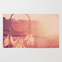 dream catcher Area & Throw Rugs featuring Dream Catcher by Whitney Retter