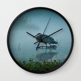 Blue Heron Misty Morning Wall Clock