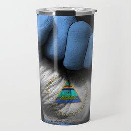 Nicaraguan Flag on a Raised Clenched Fist Travel Mug