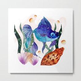 Under the sea, watercolor fish Metal Print