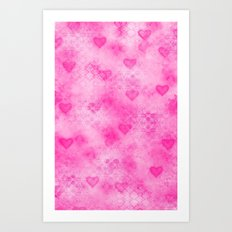 Pink Hearted Art Print