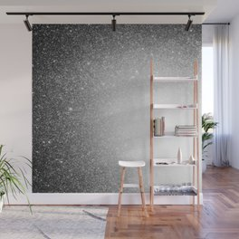 Galaxy Stars Ombre : Black Slate Gray Wall Mural