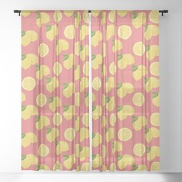 Fresh whole lemons and slices on a raspberry background Sheer Curtain