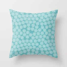 Artistic hand painted pastel teal white snow flakes pattern Throw Pillow