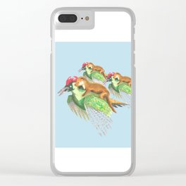Weasel Riding Woodpecker Gang on Blue  Clear iPhone Case