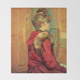 "Henri de Toulouse-Lautrec ""Girl in a Fur (Miss Jeanne Fountain)"" Throw Blanket"
