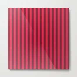 Amaranth Red Stripes Pattern Metal Print