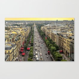 Champs-Elysees as seen from the Arc de Triomphe roof Canvas Print
