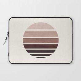 Raw Umber Mid Century Modern Minimalist Circle Round Photo Staggered Sunset Geometric Stripe Design Laptop Sleeve
