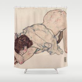 KNEELING GIRL, RESTING ON BOTH ELBOWS - EGON SCHIELE Shower Curtain