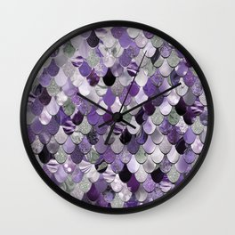 Mermaid Purple and Silver Wall Clock