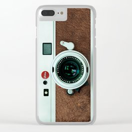 Retro vintage leather camera Clear iPhone Case