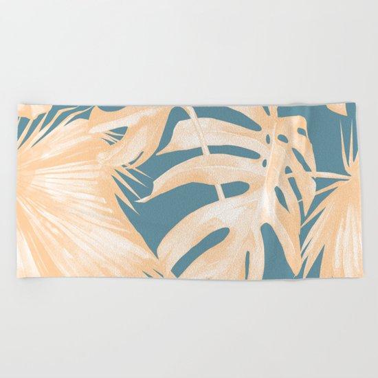 Island Vacation Hibiscus Palm Light Orange Teal Blue Beach Towel