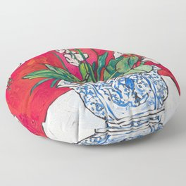 Orchid in Blue-and-white Bird Pot on Red after Matisse Floor Pillow