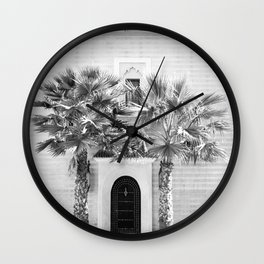 "Travel photography print ""Magical Marrakech"" photo art made in Morocco. Black and white. Wall Clock"