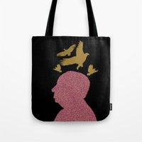 hitchcock Tote Bags featuring Hitchcock by Ryan W. Bradley