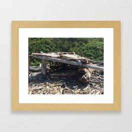 Driftwood hut at Klamath Beach Framed Art Print