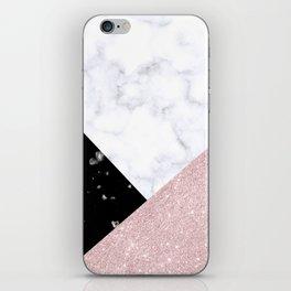 Elegant rose gold glitter & marble iPhone Skin