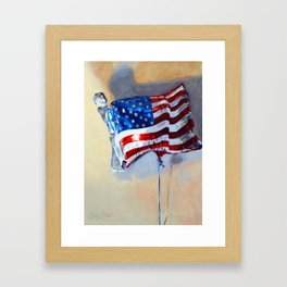 American Flag Balloon Framed Art Print