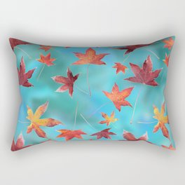 Dead Leaves over Cyan Rectangular Pillow