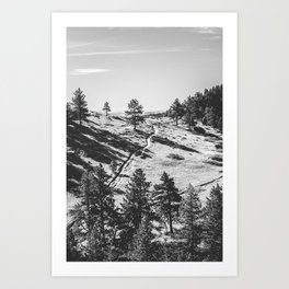 Boulder Colorado Park, Green Field, Path, Black & White (Chautauqua State Park) Art Print