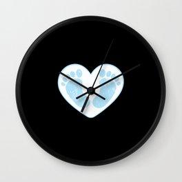 Cute male baby boy baby feet in heart shape blue Wall Clock
