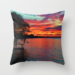 Sunset on Lake St. Clair in Belle River, Ontario, Canada Throw Pillow