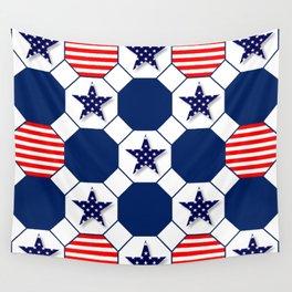 Nautical Patriotic Hexagons Wall Tapestry