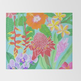 Rainbow Hawaiian flowers Throw Blanket