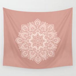 Flower Mandala in Peach and Powder Pink Wall Tapestry