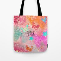 sparkle Tote Bags featuring Sparkle by SannArt