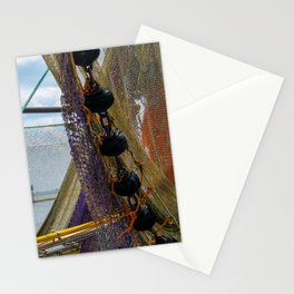 Fishing nets hanging on a boat. Stationery Cards