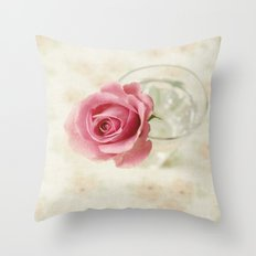 Vintage Textured Rose  Throw Pillow